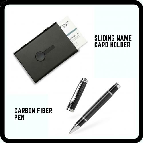 Sliding Name Card Holder + Carbon Fiber Pen (FREE NAME ENGRAVING)