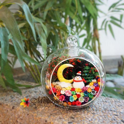 Christmas Penguin & Moon - Mistereal Preserved Flowers