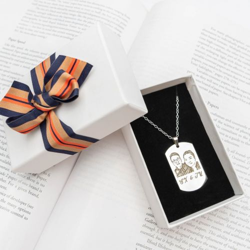 Personalized Rectangle Stainless Steel Pendant Necklace
