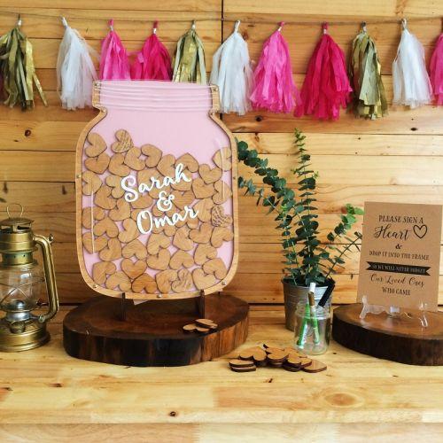 Personalized - Mason Jar Wedding Guestbook - Small