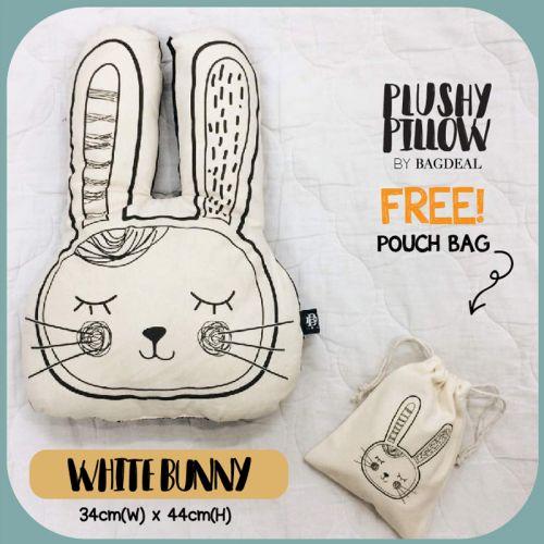 White Bunny Plushy Pillow