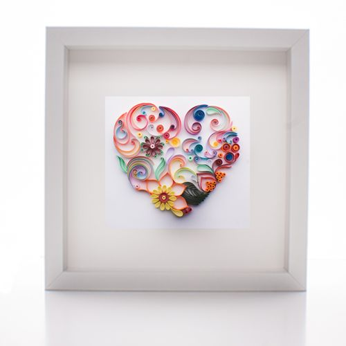 Mother's Day Heart Shaped Paper Quilled