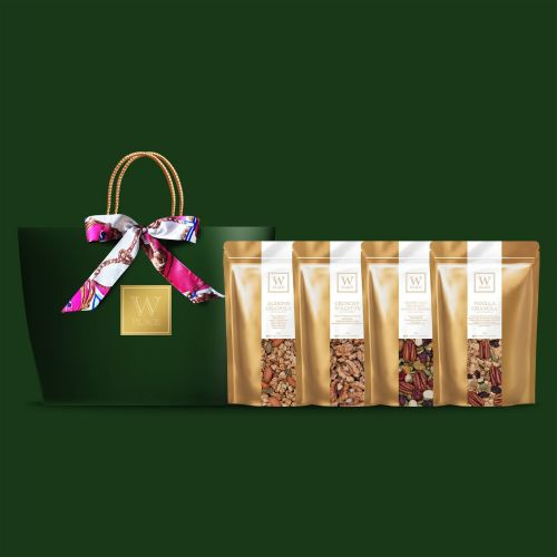 Raya 4 PACK SPECIAL with Twilly Scarf (Vegan) | Emerald Green Color Paper Bag
