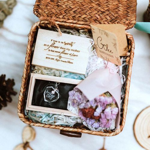 Mother's day special - Personalized crystal pendant & wooden box