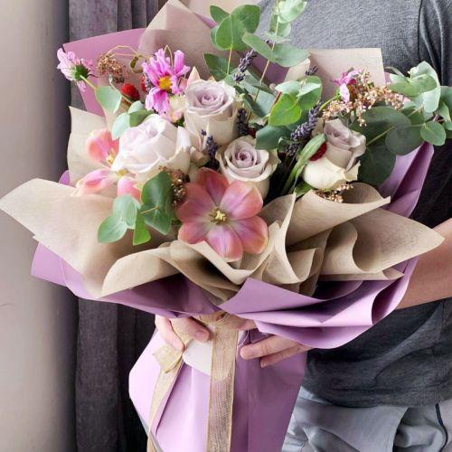 Purple Emma Rose Tulips Bouquet