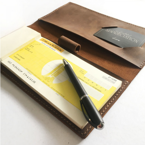 Personalised Leather Chequebook Holder