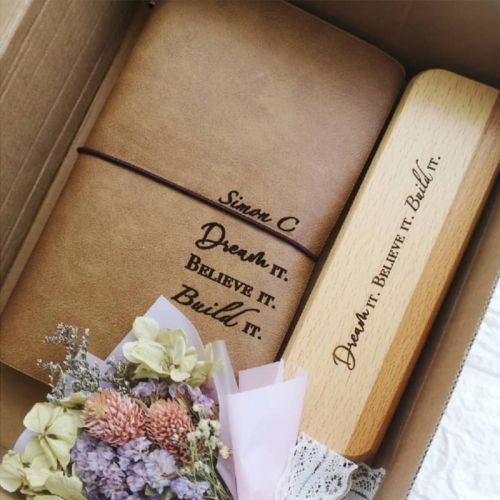 Customised Wooden Pen,  Pen Case and Notebook Set