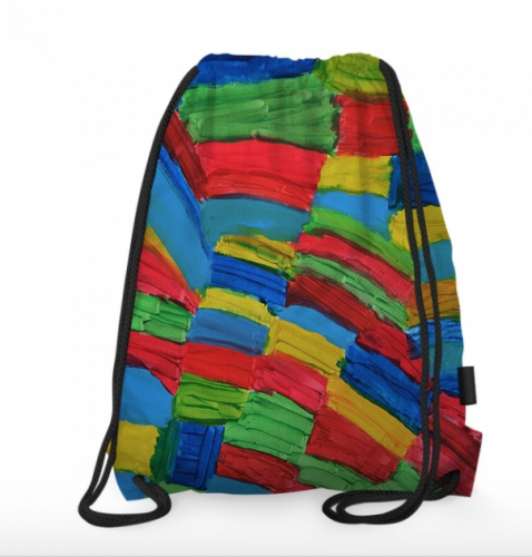 Art-Inspired Draw String Bag: Rainbow Squares