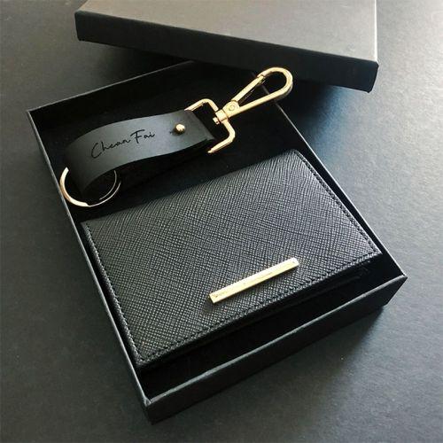 For Him Set A - Stylish Keychain + Bi-Fold Card Wallet