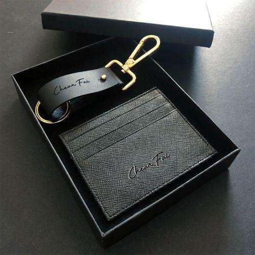 For Him Set B - Stylish Keychain + Multi Card Slot Slim Wallet