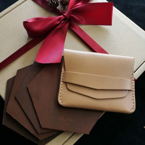 Premium Personalised Leather Gift Set A - 4 X Leather Coasters + Vege Tanned Leather Flap Wallet