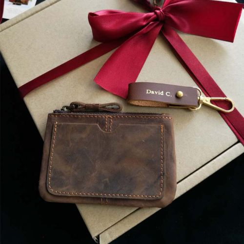 Premium Personalised Leather GIft Set B - Leather Keychain (Free Name Embossing) + Leather Top Zip