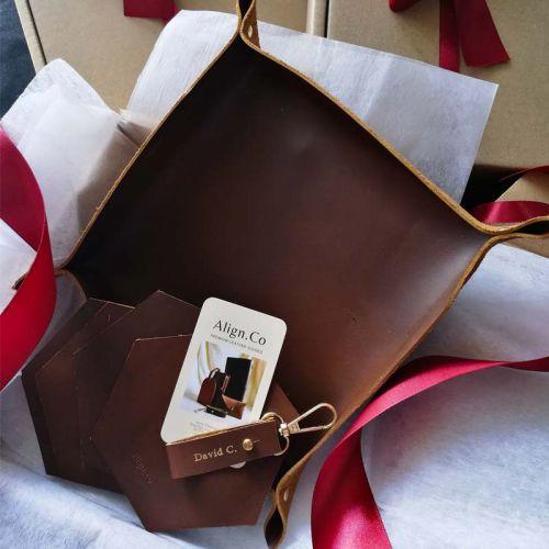 Premium Personalised Leather Gift Set C - Leather Valet Tray (Medium) + Leather Keychain + 4 X Leather Coasters