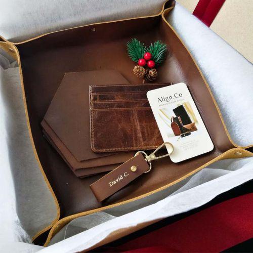 Premium Personalised Leather Gift Set E - Leather Valet Tray (Medium) + Leather Keychain + 7-Pocket Leather Cardholder + 4 X Leather Coasters