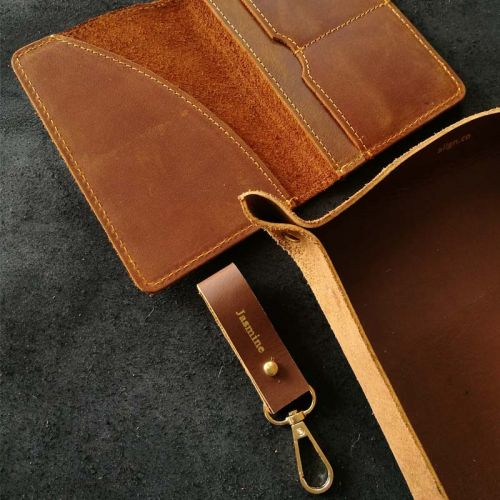 Premium Personalised Leather Gift Set H - Leather Keychain + Leather Passport Holder + Leather Valet Tray (M)