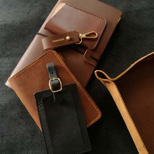 Premium Personalised Leather Gift Set K- Leather Keychain + Leather Passport Holder + Leather Valet Tray (M) + Leather Journal + 7-Pocket Leather Cardholder + Luggage Tag