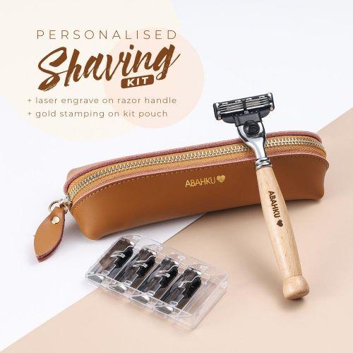 Personalised Bamboo Wood Shaving Kit