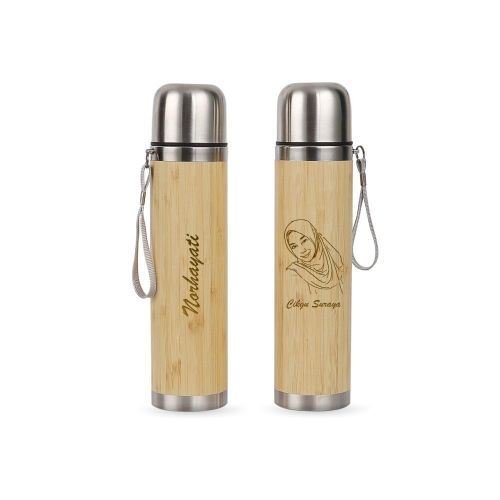 Personalised Bamboo Wood  Thermal Flask