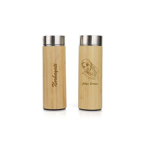 Personalised Bamboo Wood  Travel Flask