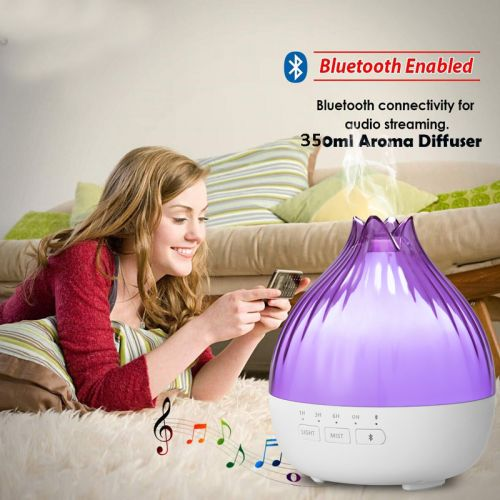 2021 NEW 5-in-1 Musical 5.0 Bluetooth Speaker Diffuser with 7 Changing LED Lights Ultrasonic Humidifier RF Remote Control with Free 5pcs 100% Essential Oil Set