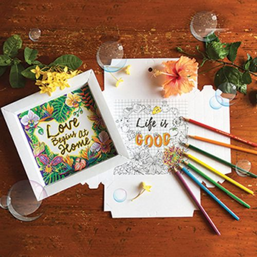 Mother's Day Gift -  4 Set of Happy Home Design Colouring Art with 3D Frame