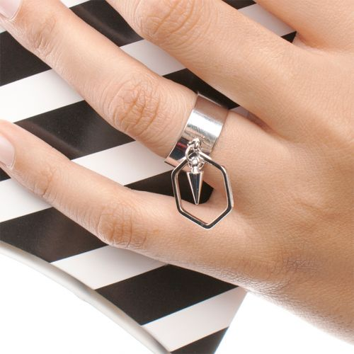 Minimalist PUNK Collection | Rhodium Plated Minimalist Punk Geometric Adjustable Ring Loop Band