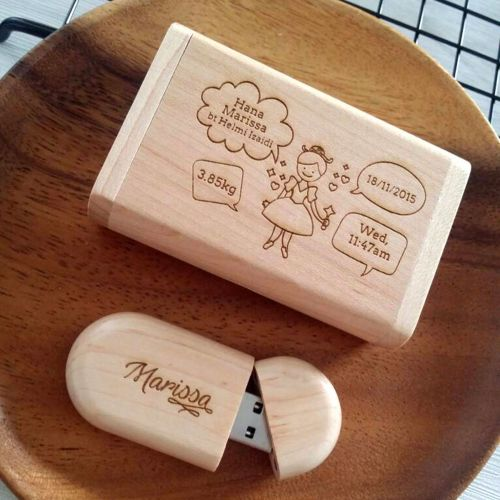 Personalised Wooden USB Stick with Box
