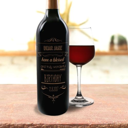 Personalised Red Wine With Text Engraving (001)