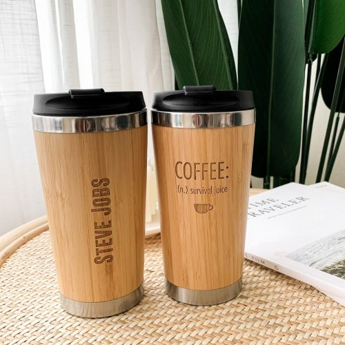 Personalized Bamboo Travel Coffee Mug Tumbler