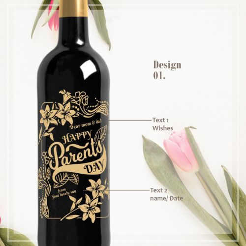 Personalised Red Wine Bottle With Text Engraving - Parent's Day