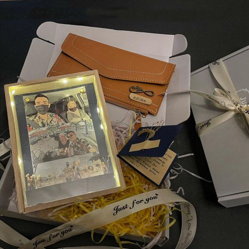 Wooden Frame with Flower Set For Her (Wallet)