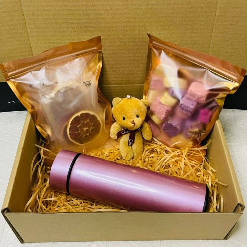 Personalised Smart LED Stainless Steel Thermal Bottle With Healthy Snacks & Infused Fruit Tea Gift Set (Nationwide Delivery)