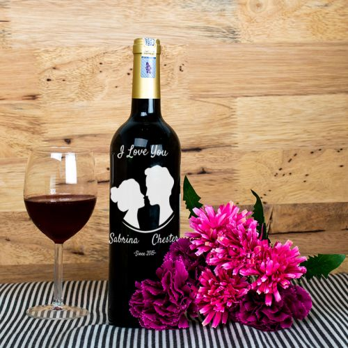 Personalised Red Wine Bottle With Text Engraving - I Love You
