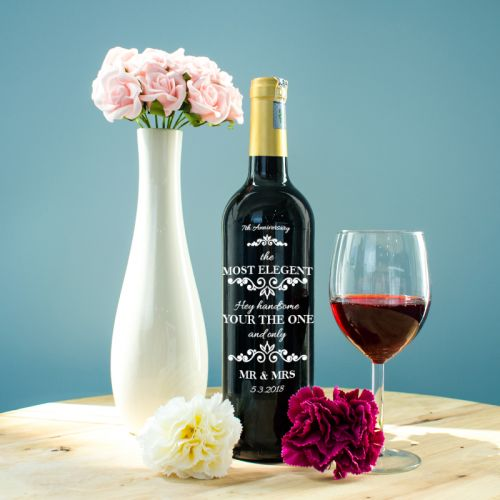 Personalised Red Wine Bottle With Text Engraving - Most Elegant