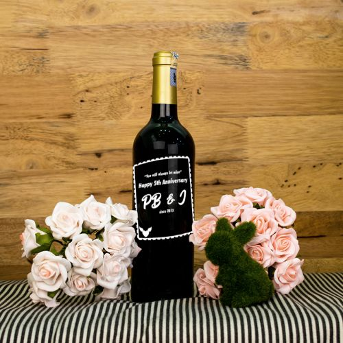 Personalised Red Wine Bottle With Text Engraving - Always Mine
