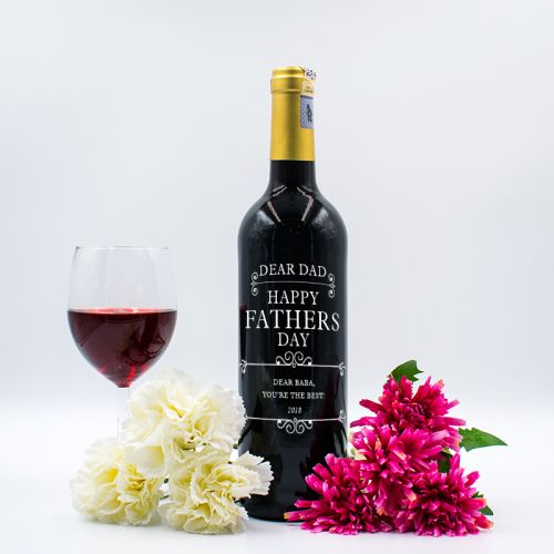 Personalised Red Wine Bottle With Text Engraving - Dear Dad