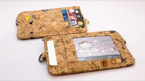 EcoQuote Coins Purse, ID Wallet, Lanyard Badge Holder Handmade Natural Cork, Eco-Friendly & Sustainable Material
