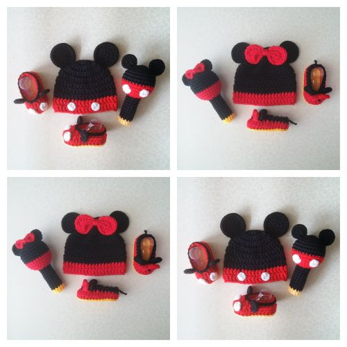 Baby Mickey, Minnie Mouse Set (Crochet Hat, Booties and Rattle)