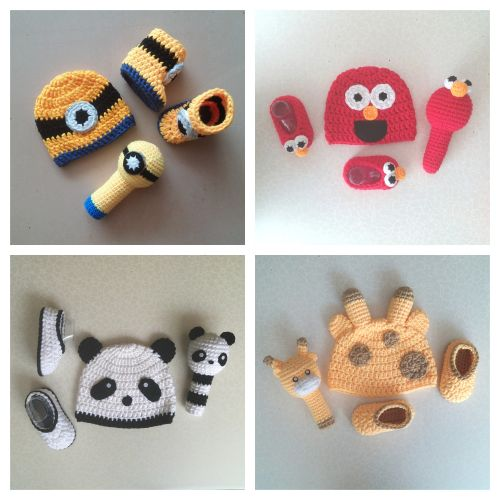 Baby Minion, Elmo, Panda, Giraffe Set (Crochet Hat, Booties and Rattle)