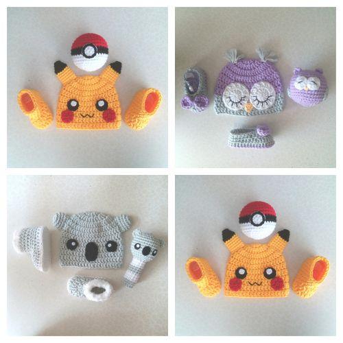 Baby Pikachu, Owl, Koala Set (Crochet Hat, Booties and Rattle)