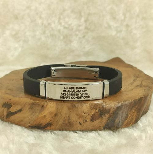Personalized Black Silicon Rubber Lifeline-ID Bracelet