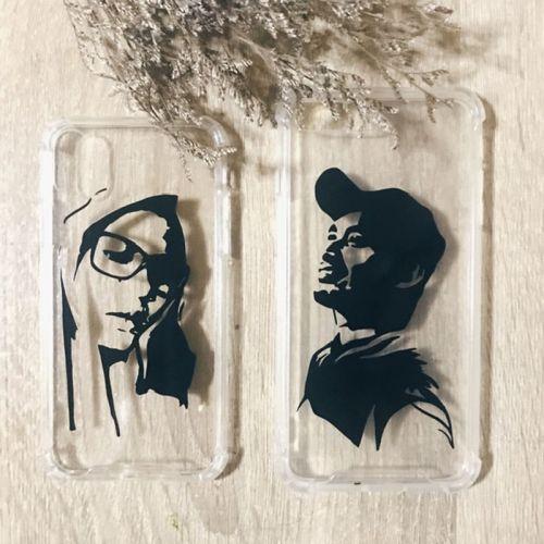 Silhouette Potrait  on Casing | Vinyl Sticker