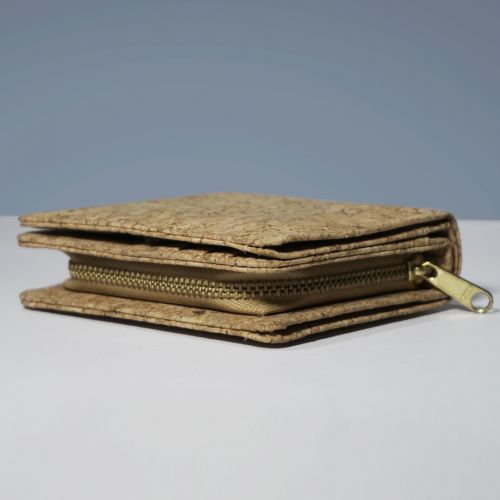 EcoQuote Compact Bi Fold Wallet Handmade Eco-Friendly Cork Material Great for Vegan