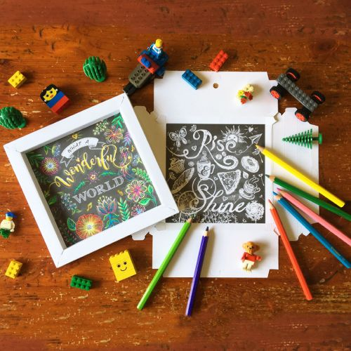 CHRISTMAS SALE  - Buy 2 Free 1 (4 Set of Chalk Style Design Colouring Art with 3D Frame)