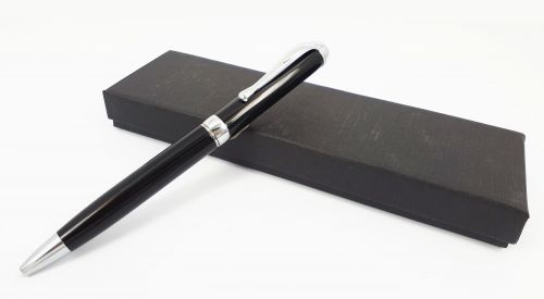 Round Top Stainless Steel Black Pen