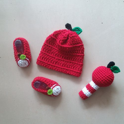 Baby Apple Set (Crochet Hat, Booties and Rattle)