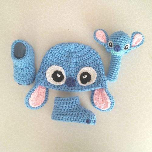 Stitch Set (Crochet Hat, Booties and Rattle)