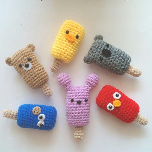 Handmade Crochet Popsicle Animals