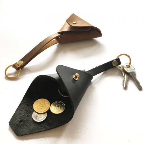 Personalised Dual-Purpose Leather Key Holder / Coin Pouch