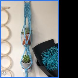 Handmade Bleu Macrame Mini Plant Hanger